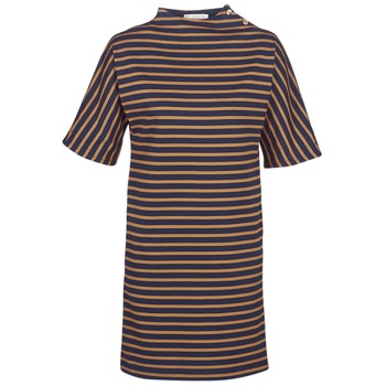 Clothing Women Short Dresses Petit Bateau TUESDAY Marine / Yellow