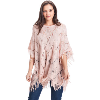 Clothes accessories Women Scarves / Slings Laura Moretti Poncho ADRIENNE Beige Woman Autumn/Winter Collection Pink