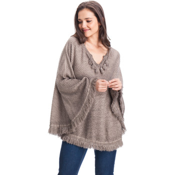 Clothes accessories Women Scarves / Slings Laura Moretti Poncho ANNETTA Grey Woman Autumn/Winter Collection Gray taupe