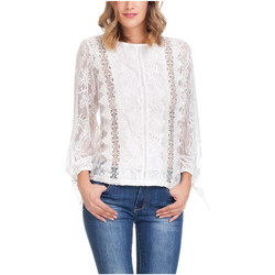 Clothing Women Tops / Blouses Laura Moretti Long sleeve top SOLANGE White Woman Autumn/Winter Collection White