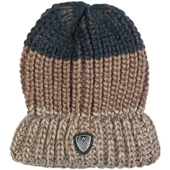 Clothes accessories Men Hats / Beanies / Bobble hats Emporio Armani EA7 EA7 by Emporio Armani Beanie Hat in Navy Blue  Grey and Brown 27 brown