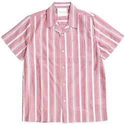 Clothing Men short-sleeved shirts The Idle Man Striped Revere Collar Shirt Burgundy Red