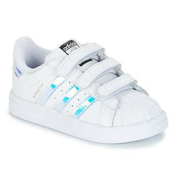 Shoes Girl Low top trainers adidas Originals SUPERSTAR CF I White / Silver