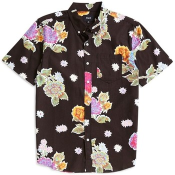 Clothing Men short-sleeved shirts Huf Botanica Floral Short Sleeve Shirt Black Black