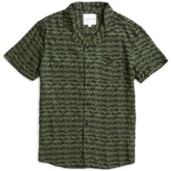 Clothing Men short-sleeved shirts The Idle Man Geo Revere Collar Shirt Green Green