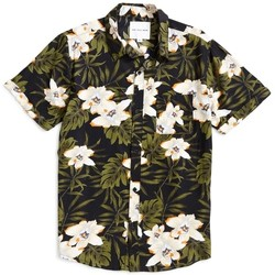 Clothing Men short-sleeved shirts The Idle Man Dark Floral Shirt Black Black