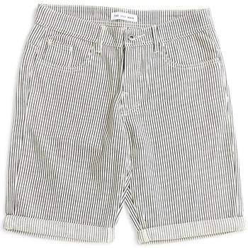 Clothing Men Shorts / Bermudas The Idle Man Striped Denim Shorts White White