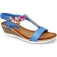 Shoes Women Sandals Lunar Ladies Geri Low Heel Wedge Sandal Blue