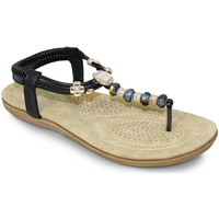 Shoes Women Sandals Lunar Ladies Murano Beaded Toe Post Sandal Black
