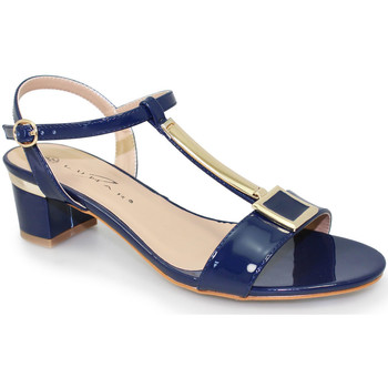 Shoes Women Sandals Lunar Ladies Blaze Patent Low Heel Sandal Navy (Blue)