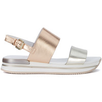 Shoes Women Sandals Hogan H257 pink and gold metallic leather sandal Pink