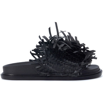 Shoes Women Sandals Mm6 Maison Margiela black leather slipper with interweaving and fringes Black