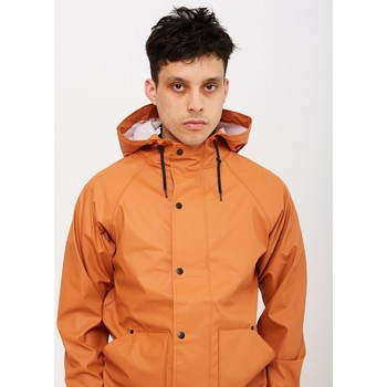 Clothing Men Macs The Idle Man Lightweight Rubber Rain Jacket Rust Orange