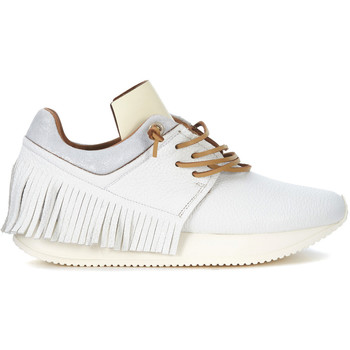 Shoes Women Low top trainers Esseutesse white leather sneaker with fringes White