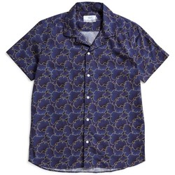 Clothing Men short-sleeved shirts Wax London Selby Shirt Bilboa Print Blue