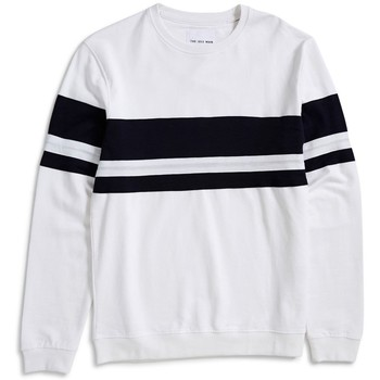 Clothing Men jumpers The Idle Man Cut & Sew Stripe Sweatshirt White White