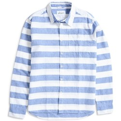 Clothing Men long-sleeved shirts Albam Hockney Shirt Thick Stripe Navy Blue