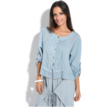 Clothing Women Jackets / Cardigans 100 % Lin Cardigan Woman Spring/Summer Collection 2018 Faded blue