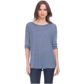 Clothing Women Tops / Blouses Laura Moretti Long sleeve top NILOU Blue Woman Autumn/Winter Collection Navy blue