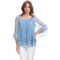 Clothing Women Tops / Blouses Laura Moretti Blouse MAYA Sky blue Woman Autumn/Winter Collection Blue