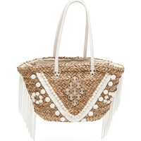 Bags Women Bag Amenapih Straw bag embroidered with pompoms and fringe , White - Porto Ve Sand