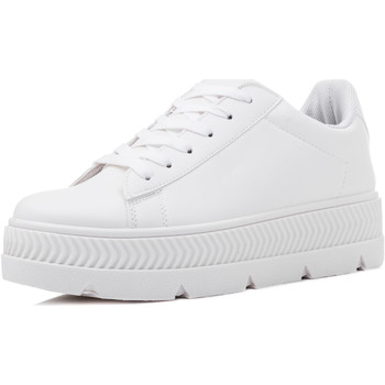 Shoes Women Low top trainers Spylovebuy DEVIL TO PAY Lace Up Platform Trainers Sneakers - White Leather White