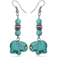 Watches Women Earrings Blue Pearls Turquoise Elephant Dangling Earrings Multicolored