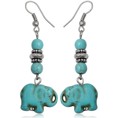 Watches Women Earrings Blue Pearls Turquoise Elephant Dangling Earrings Other