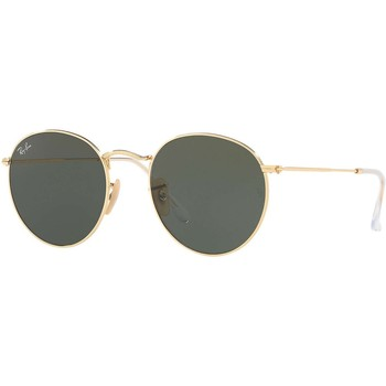 Watches Men Sunglasses Ray-ban Men's Round Flat Metal Sunglasses, Gold gold