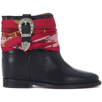 Shoes Women Shoe boots Via Roma 15 Malibù black leather ankle boot with buckle and foulard Black