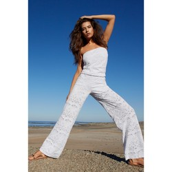 Clothing Women Tunics Pain De Sucre Jumpsuit Penny  White - Jersey Broderie anglaise White