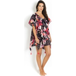 Clothing Women Tunics Seafolly Caftan in Cotton voile, , Black Flower - Ocean Rose Pink