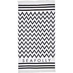 Clothing Women Swimsuits Seafolly Towel Black and White, Ikat Signature White