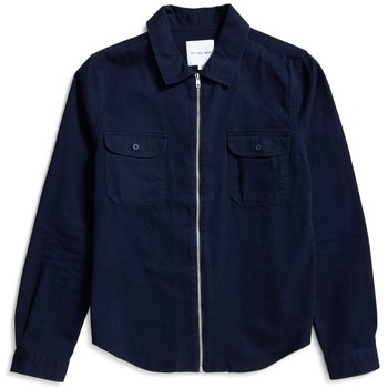 Clothing Men Jackets The Idle Man Zip Overshirt Navy Blue