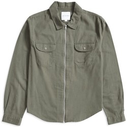 Clothing Men Jackets The Idle Man Zip Overshirt Green Green