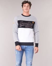 Clothing Men sweaters Superdry VINTAGE LOGO PANEL CREW Grey / White
