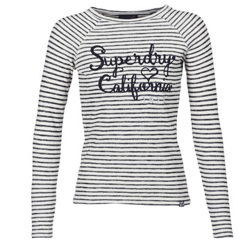 Clothing Women Long sleeved tee-shirts Superdry BLOSSOM RAGLAN APPLIQUE TOP White / Black
