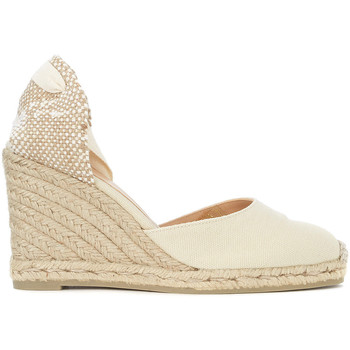 Shoes Women Espadrilles Castaner Carina natural jute and ivory canvas wedge sandal White