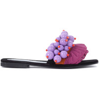 Shoes Women Sandals Elina Linardaki Berry Berry black leather sandal with pearls and rouches Multicolour