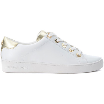 Shoes Women Low top trainers MICHAEL Michael Kors Irving white and gold leather sneakers White