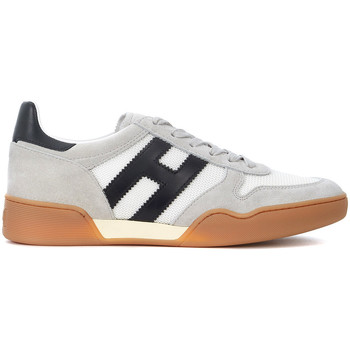 Shoes Men Low top trainers Hogan H357 white suede and mesh sneakers White