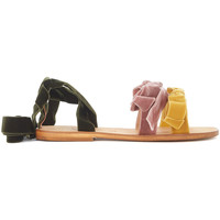 Shoes Women Sandals Gia Couture Sapporo velvet pink and yellow sandal with green ribbon Yellow