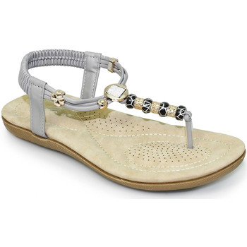 Shoes Women Sandals Lunar Ladies Murano Beaded Toe Post Sandal Grey