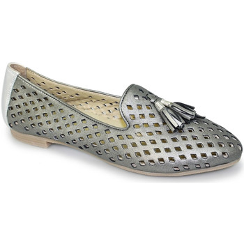 Shoes Women Loafers Lunar Ladies Alma II Punched Leather Loafer Pewter