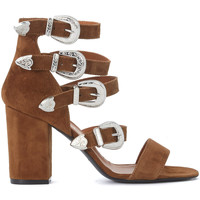 Shoes Women Trainers Via Roma 15 brown leather heel sandal with buckles Brown