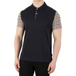Clothing Men short-sleeved polo shirts Aquascutum Men's Rutland Detail Polo Shirt, Blue blue