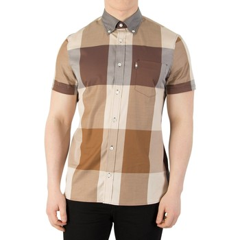 Clothing Men long-sleeved shirts Aquascutum Men's Henlake Giant Short Sleeved Shirt, Beige beige