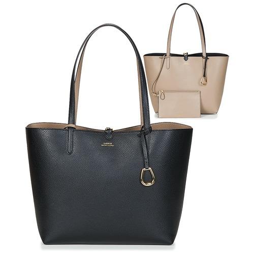 2c65d9361390 Bags Women Shopping Bags   Baskets Lauren Ralph Lauren MERRIMACK REVERSIBLE  TOTE MEDIUM Black   Taupe