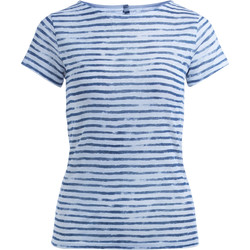 Clothing Women T-shirts & Polo shirts Majestic Filature Majestic Filatures white and blue striped linen T-shirt with but Multicolour