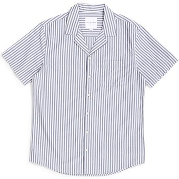 Clothing Men long-sleeved shirts The Idle Man Awning Stripe Revere Collar Shirt Off White & Blue Beige